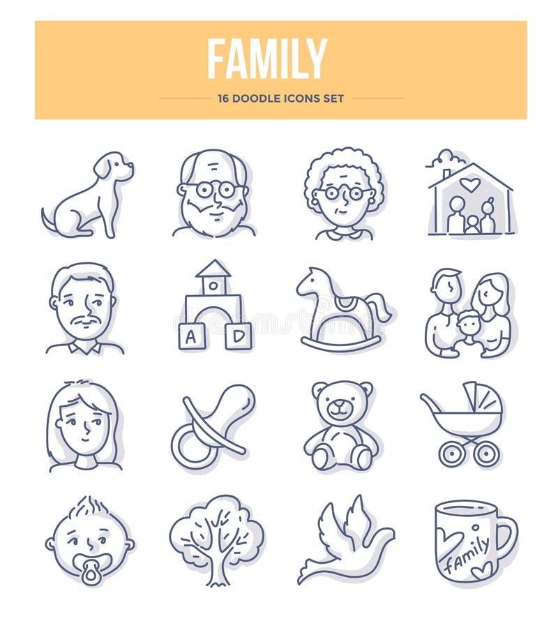 Rodzinne Doodle ikony ilustracja wektor