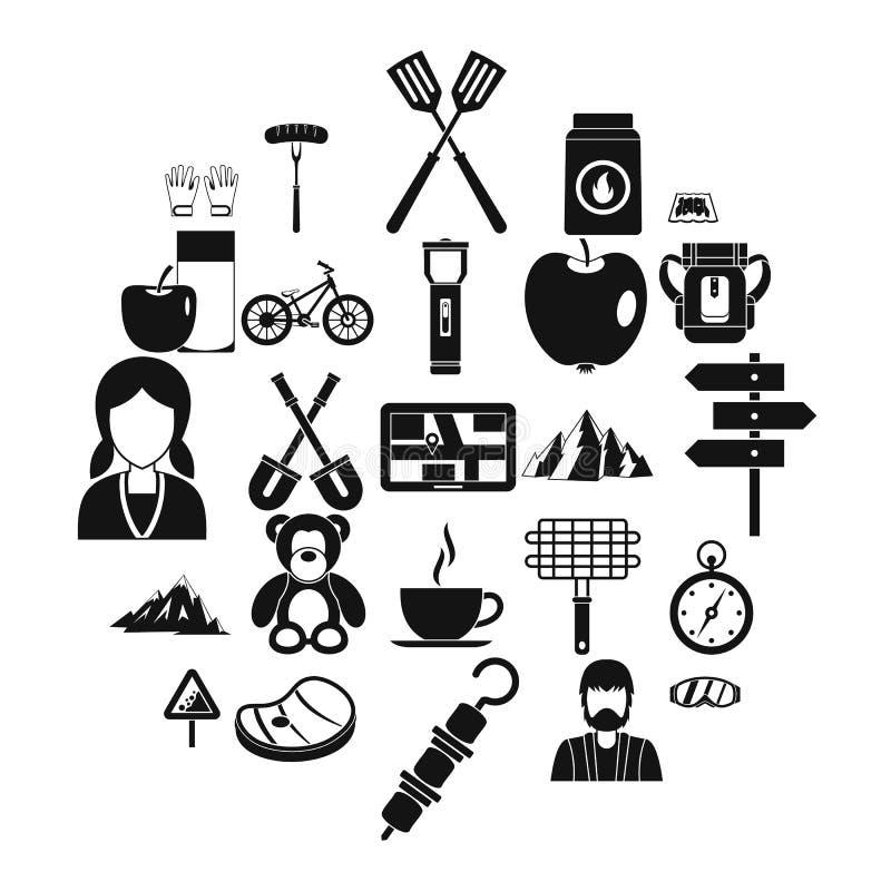 Rodzinne grill ikony ustawiać, prosty styl royalty ilustracja