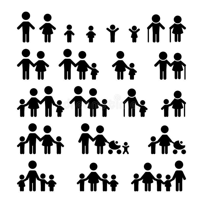 rodzinne ikony ustawiają ilustracji