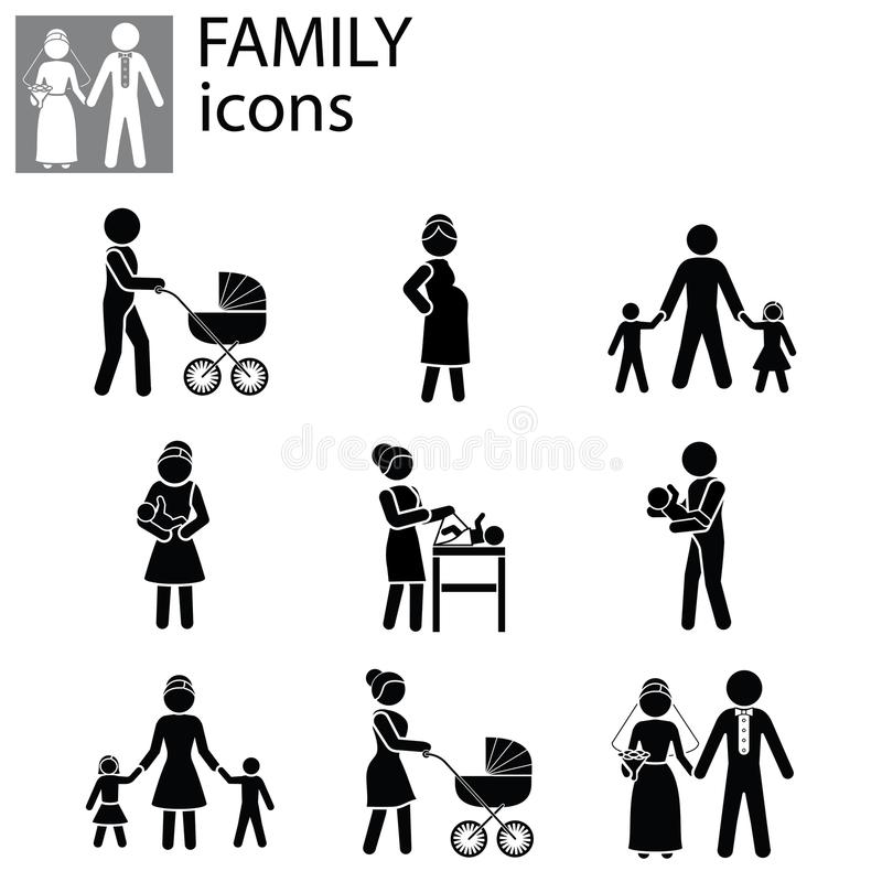 Rodzinne ikony ustawiający wektor royalty ilustracja