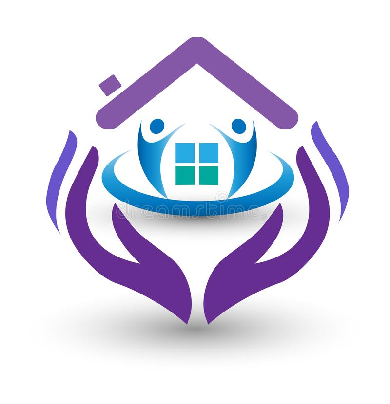 Rodzinne opiek ręki i domowy logo ilustracji