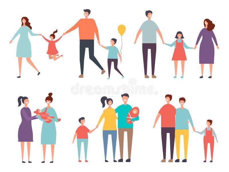 Rodzinne pary Non tradycyjny rodzinny homoseksualista dobiera się samiec, kobieta ilustracji