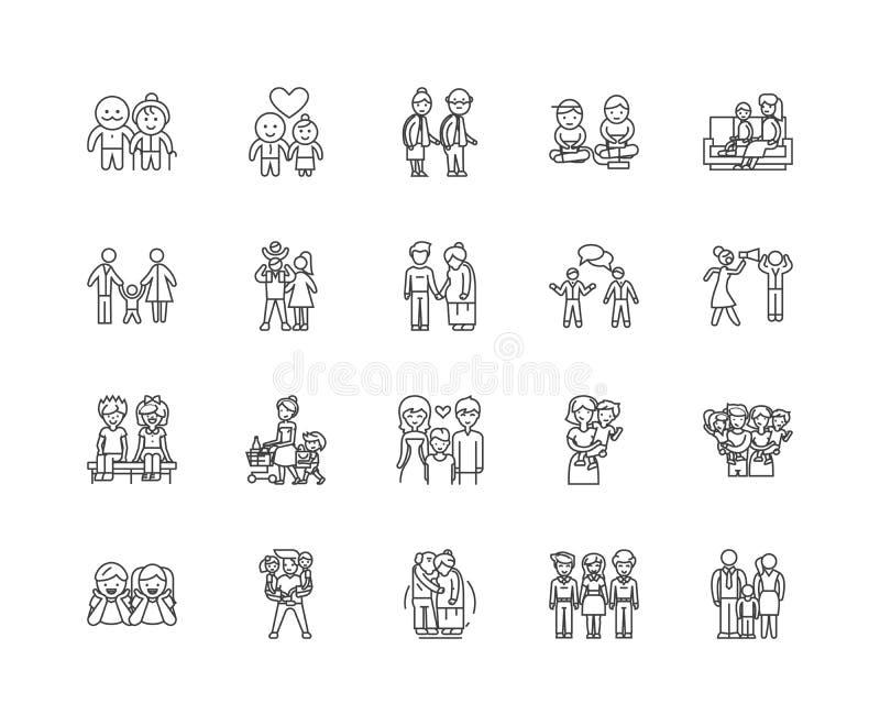 Rodzinne psyhology linii ikony, znaki, wektoru set, kontur ilustracji pojęcie royalty ilustracja
