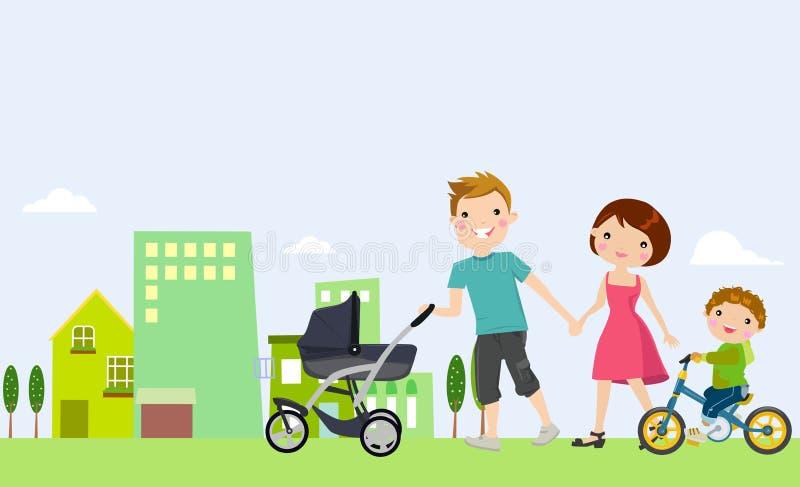 rodzinne tła ojca dziecka szczęśliwa matka odizolowana w białych smile young ilustracji
