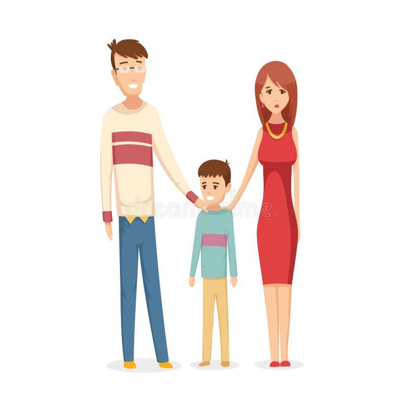 rodzinne t?a ojca dziecka szcz??liwa matka odizolowana w bia?ych smile young Tata, mama i syn, wpólnie Wektorowa ilustracja w kre ilustracji