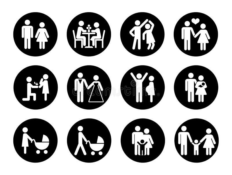 Rodzinne wektorowe ikony ustawiać w czarny i biały ilustracji