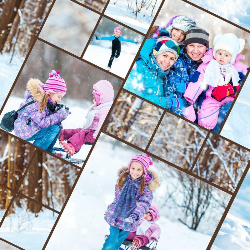 Rodzinne zim fotografie zdjęcie stock