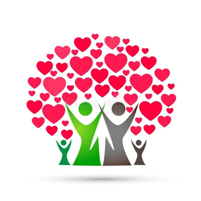 Rodzinnego drzewa logo, rodzina, rodzic, dzieciaki, czerwony serce, miłość, wychowywa, opieka, symbol ikony projekta wektor na bi royalty ilustracja