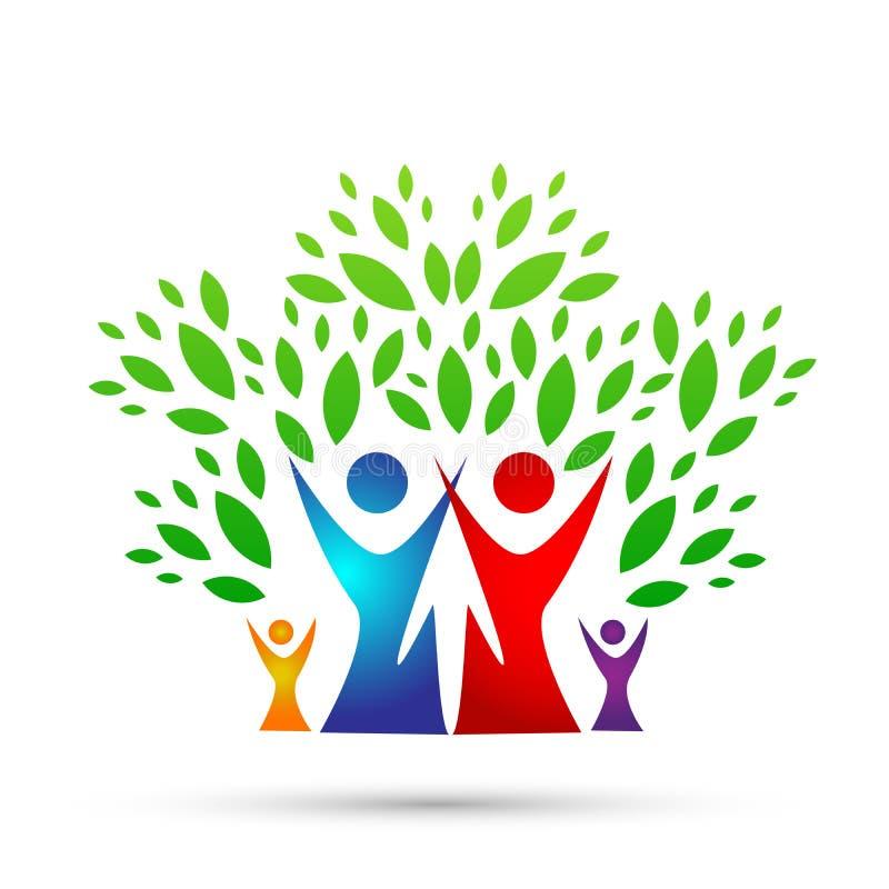 Rodzinnego drzewa logo, rodzina, rodzic, dzieciaki, zielona miłość, wychowywa, opieka, symbol ikony projekta wektor na białym tle royalty ilustracja