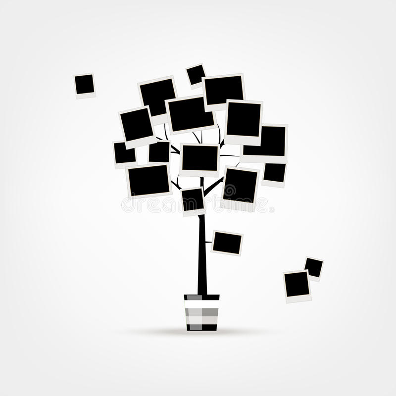 Rodzinnego drzewa projekt, wkłada twój fotografie w ramy ilustracji