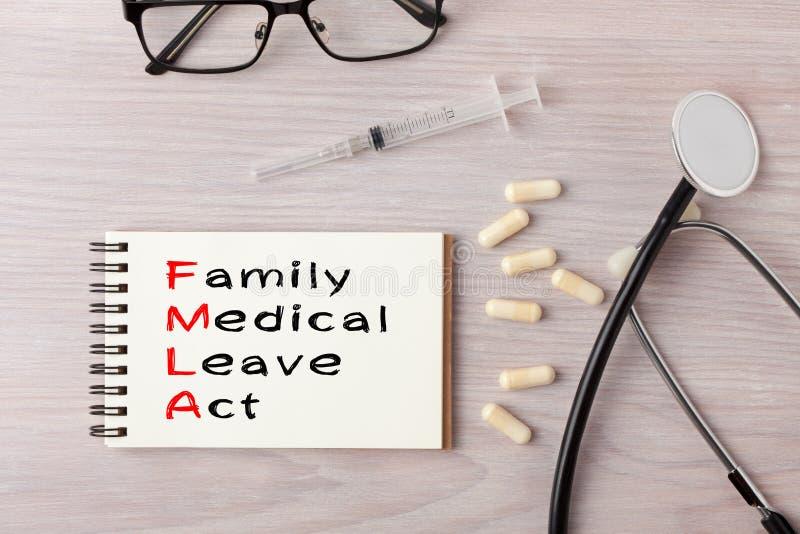Rodzinnego I Medycznego urlopu akt FMLA zdjęcia stock