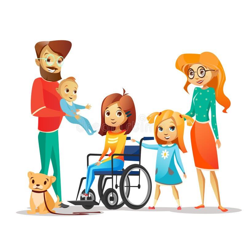 Rodzinnego i niepełnosprawnego dziecka wektorowa ilustracja niepełnosprawna dziewczyna w wózku inwalidzkim otaczającym szczęśliwy ilustracji