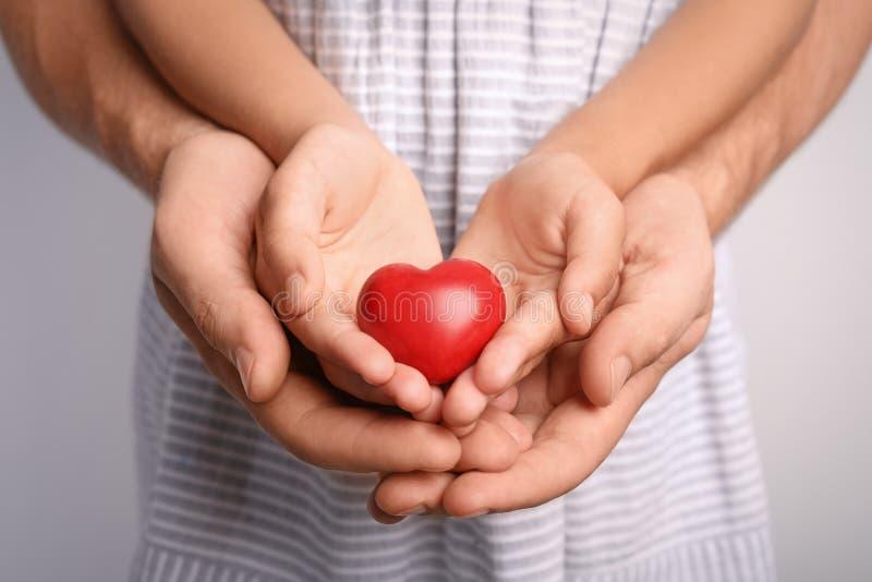 Rodzinnego mienia mały czerwony serce w ręki togethe obrazy stock