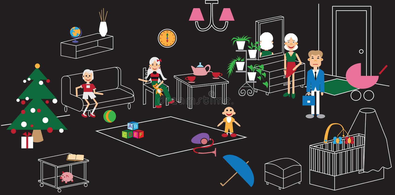 Rodzinnego pokoju meble royalty ilustracja