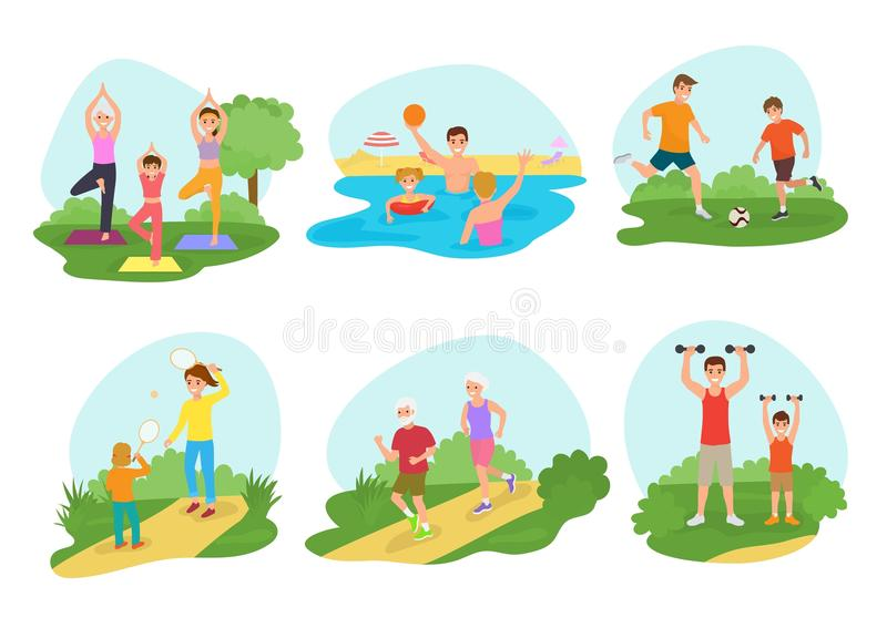 Rodzinnego treningu ćwiczenia mamy lub tata charakter ćwiczy wpólnie w parkowym ilustracja secie wektorowi aktywni ludzie dziecia ilustracji