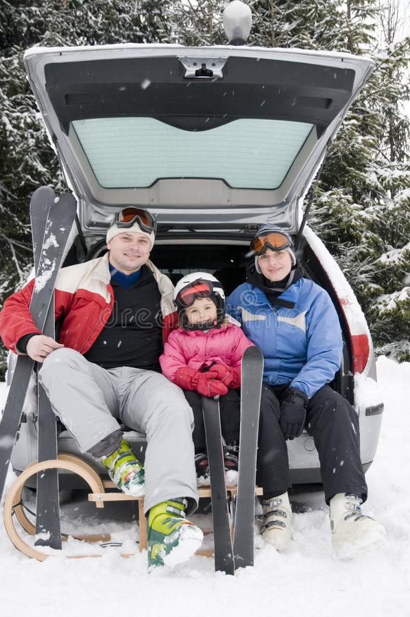 rodzinnego wakacje zima zdjęcia royalty free