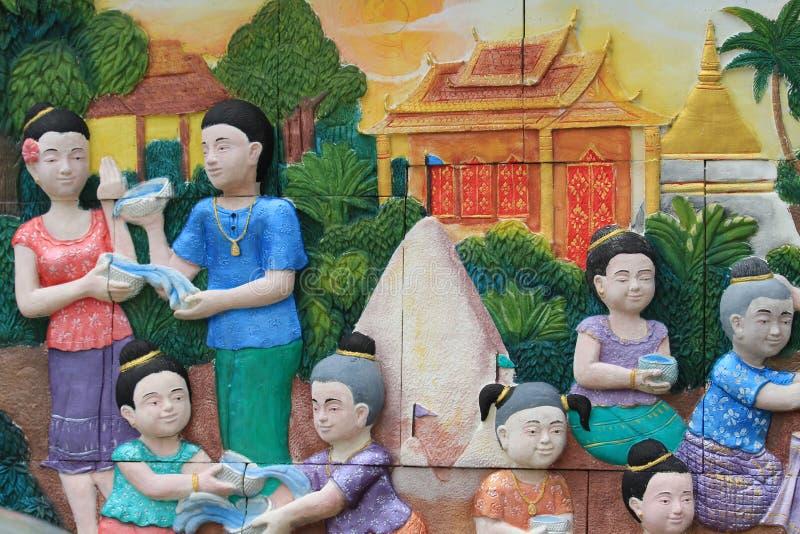 Rodzinnej fotografii Songkran festiwal Na ścianie świątynny miasto Bangkok, Tajlandia obrazy stock