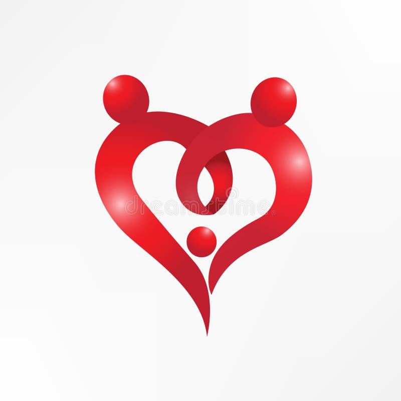Rodzinnej miłości kierowy mienie wręcza symbolu logowi wektorową wizerunek ikonę ilustracja wektor