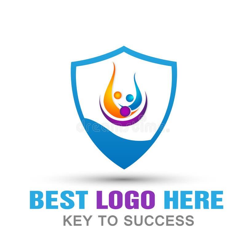 Rodzinnej osłona loga domu rodzinnego ochrony ochrony zbawczy logo na białym tle ilustracja wektor