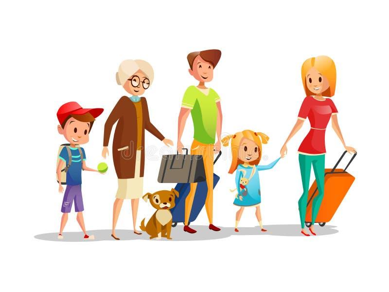 Rodzinnej podróży wektorowa ilustracja dzieciaki, rodzice, dziadkowie lub psi odprowadzenie z podróżnymi torbami, odizolowywał ik ilustracji