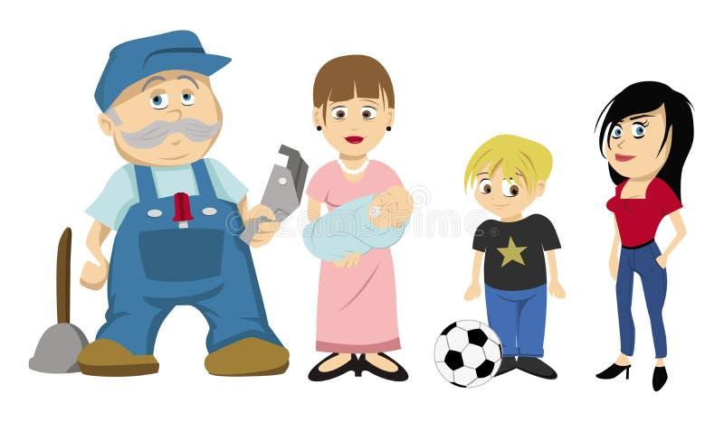 Rodzinni charaktery ilustracji
