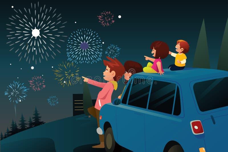 Rodzinni dopatrywanie fajerwerki dla nowego roku świętowania ilustracji