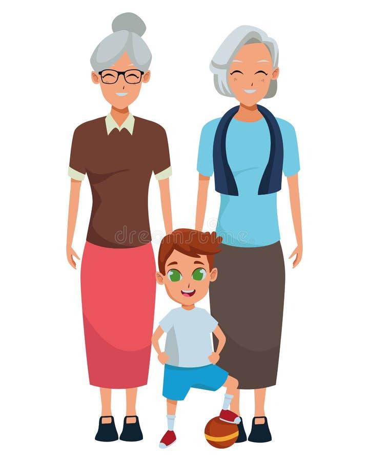 Rodzinni dziadkowie i wnuk kreskówki ilustracji