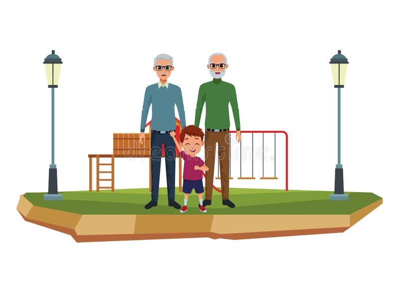 Rodzinni dziadkowie i wnuk kreskówki royalty ilustracja