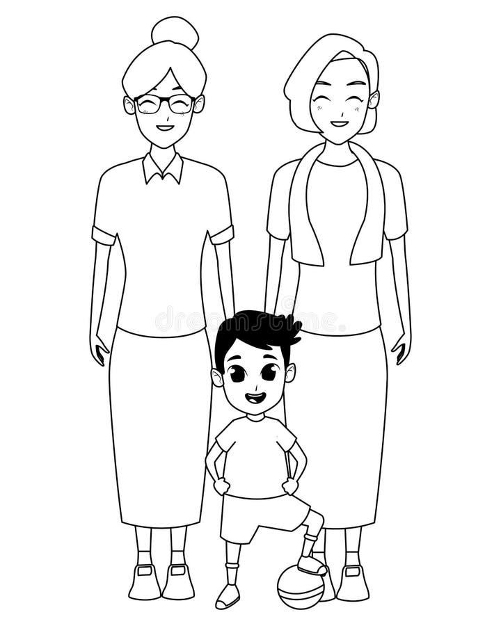 Rodzinni dziadkowie i wnuk kreskówki w czarny i biały ilustracji
