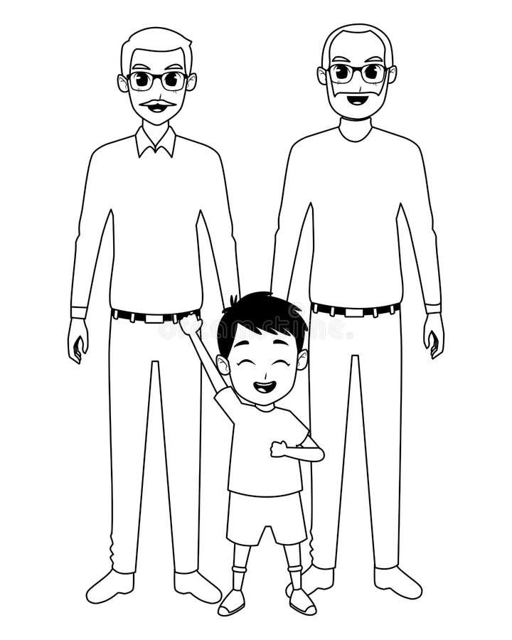 Rodzinni dziadkowie i wnuk kreskówki w czarny i biały royalty ilustracja