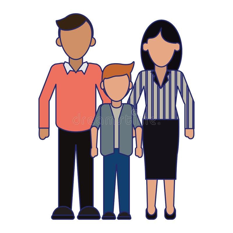 Rodzinni kierownictwo rodzice z syn niebieskimi liniami beztwarzowymi royalty ilustracja