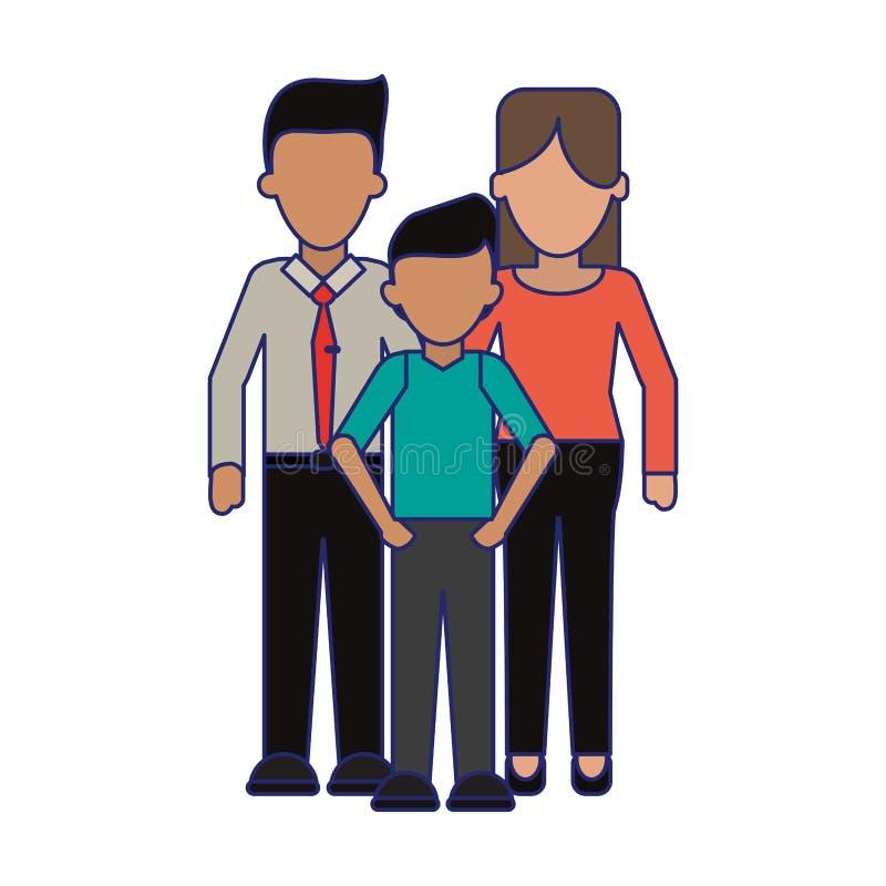 Rodzinni kierownictwo rodzice z syn niebieskimi liniami beztwarzowymi ilustracji