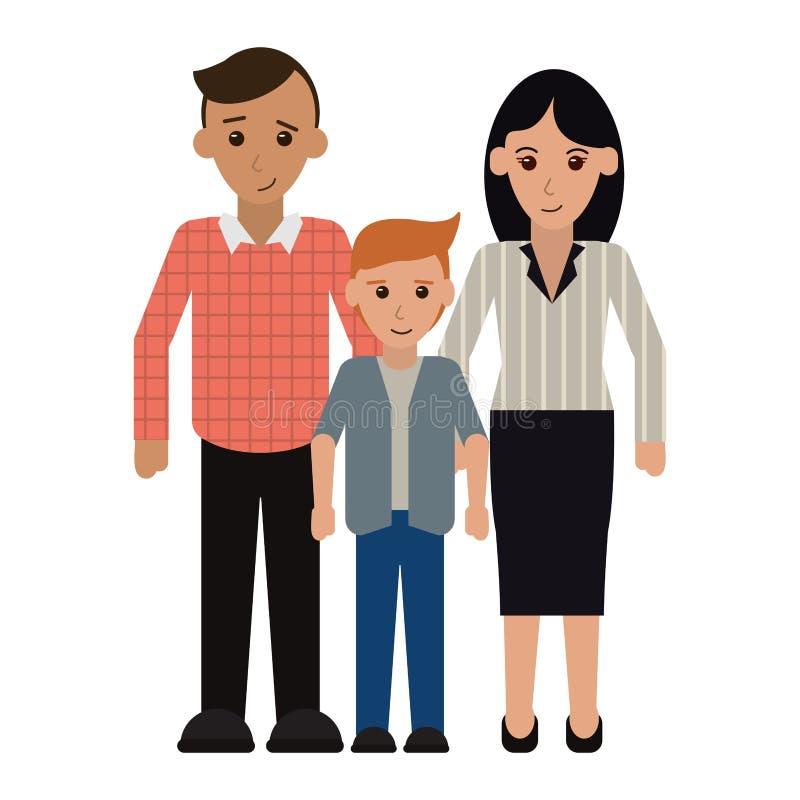 Rodzinni kierownictwo rodzice z synem ilustracja wektor