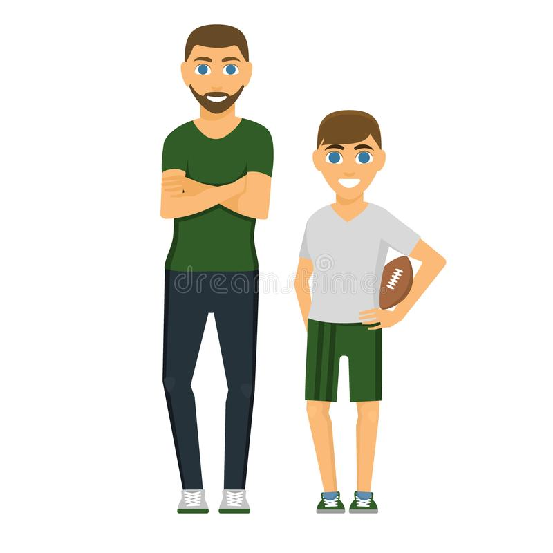 Rodzinni ludzie dorosłego szczęścia ojca syna uśmiechniętej więzi wychowywa pojęcie, przypadkowy i paren, rozochocony styl życia royalty ilustracja