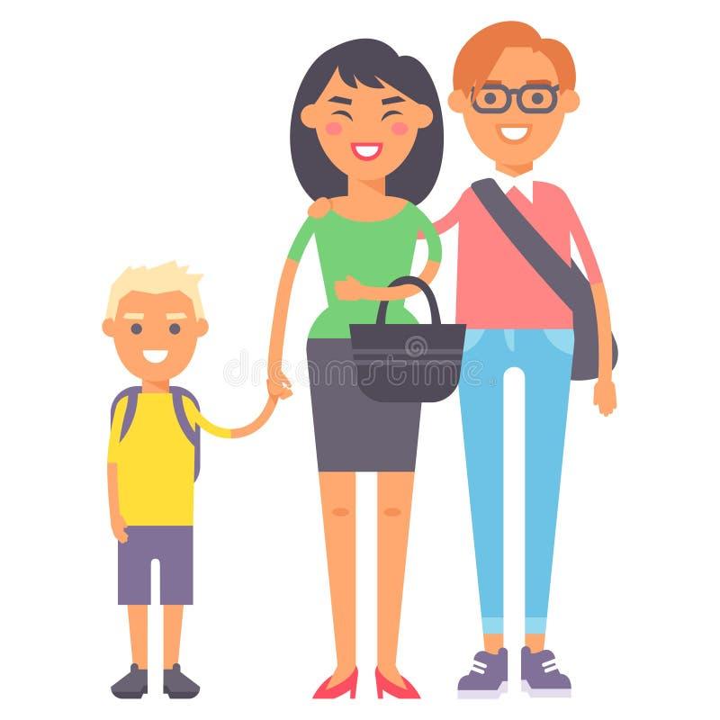 Rodzinni ludzie dorosłego szczęścia uśmiechniętej grupowej więzi wychowywa pojęcie i przypadkowego rodzica rozochoconych, styl ży ilustracji