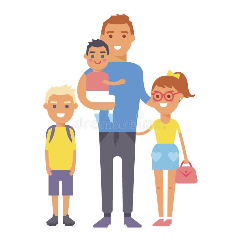 Rodzinni ludzie dorosłego szczęścia uśmiechniętej grupowej więzi wychowywa pojęcie i przypadkowego rodzica rozochoconych, styl ży royalty ilustracja