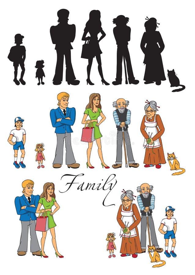 Rodzinni ludzie na białym tle ilustracji