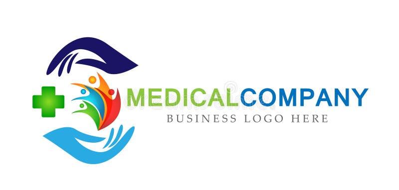 Rodzinni medyczni zdrowi życie krzyża kliniki ręk opieki logo rodzica dzieciaki kochają, ochraniają, symbol ikony projekta wektor ilustracji