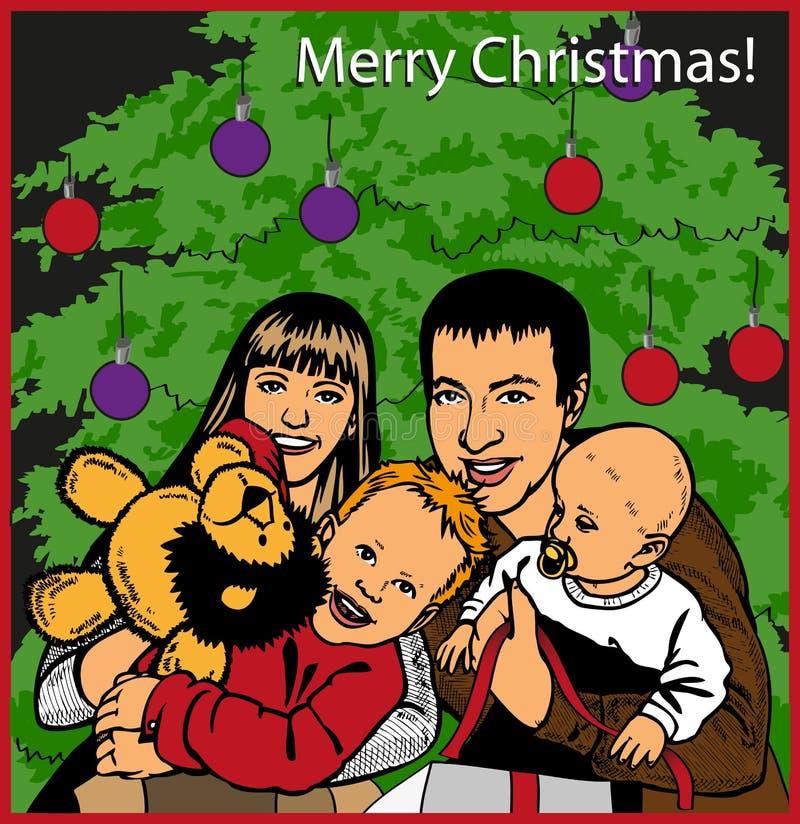 Rodzinni otwarć bożych narodzeń prezenty ilustracji