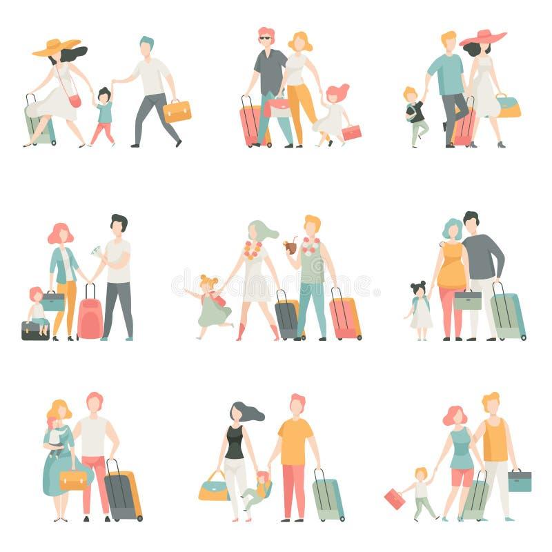 Rodzinni podróży setu, ojca, matki i dzieciaków charaktery Podróżuje Wpólnie, Szczęśliwa rodzinna Wektorowa ilustracja royalty ilustracja
