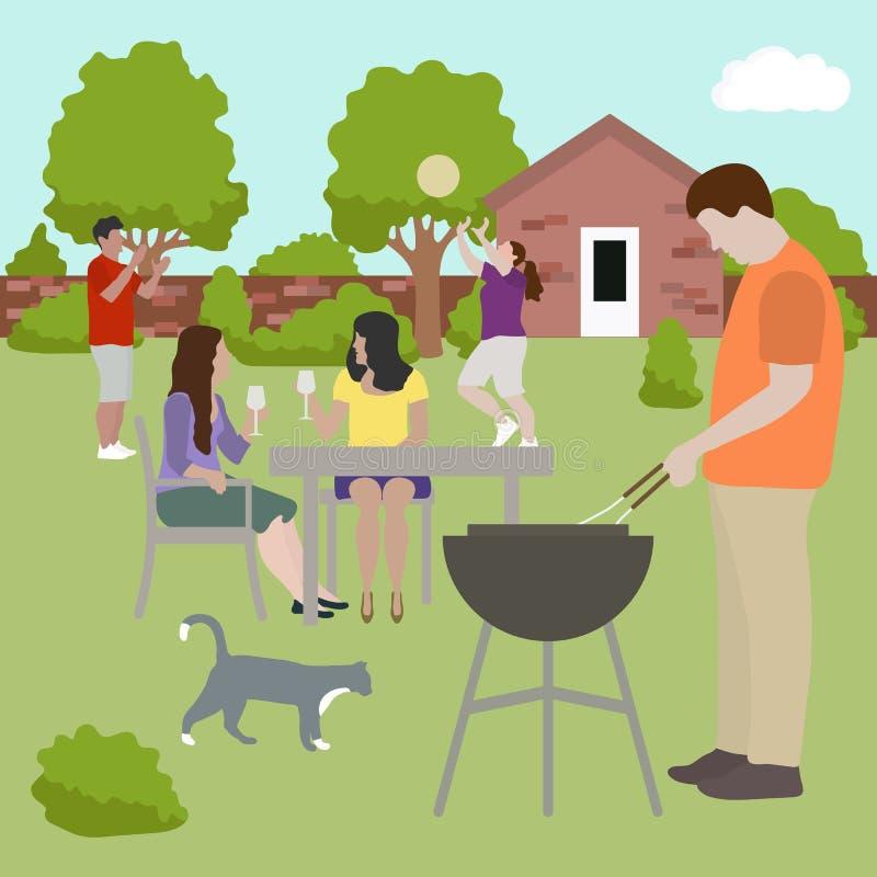 Rodzinni przyjaciół ludzie na bbq przyjęcia outdoors wektorze royalty ilustracja
