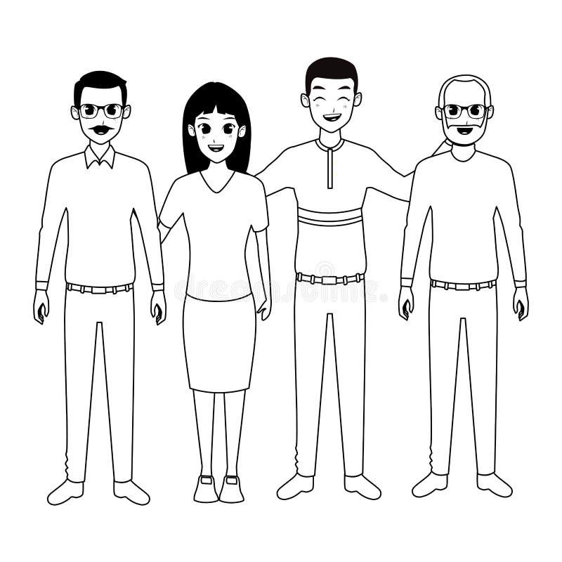Rodzinni starzy ojcowie z adultt córką i afro syn kreskówką w czarny i biały ilustracja wektor