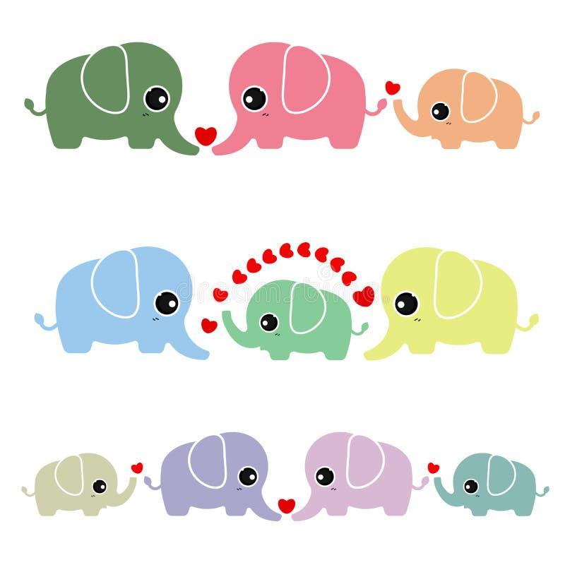 Rodzinny śliczny słoń na białym tle royalty ilustracja