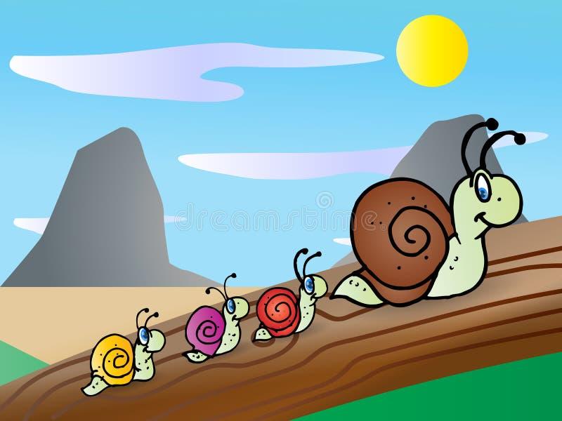 rodzinny ślimaczek ilustracja wektor
