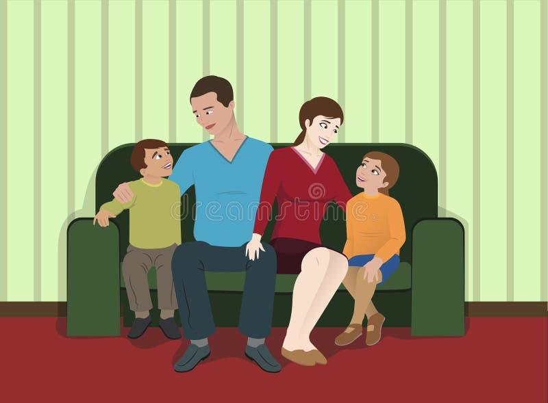 rodzinny żywy izbowy obsiadanie ilustracja wektor