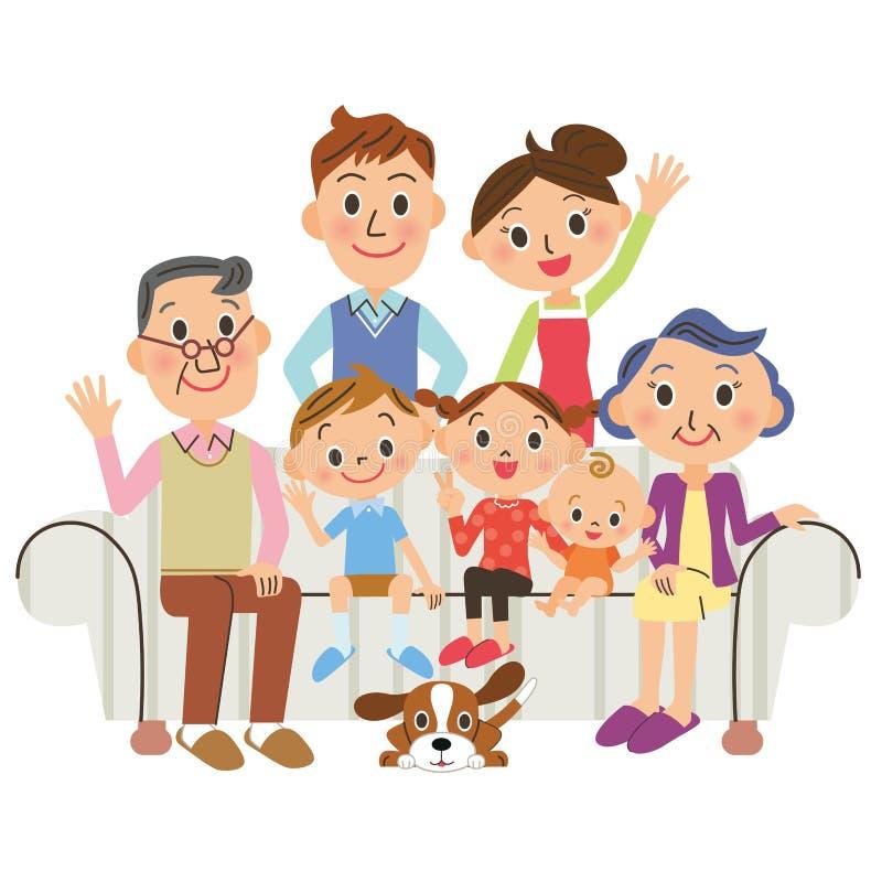 , rodzinny żywy trzecie pokolenie royalty ilustracja