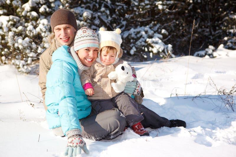 rodzinny bawić się śnieg zdjęcie stock