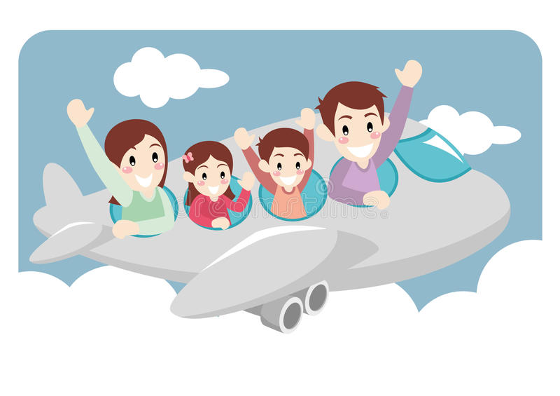 Rodzinny Bierze Urlopową wycieczkę samolotem obraz royalty free