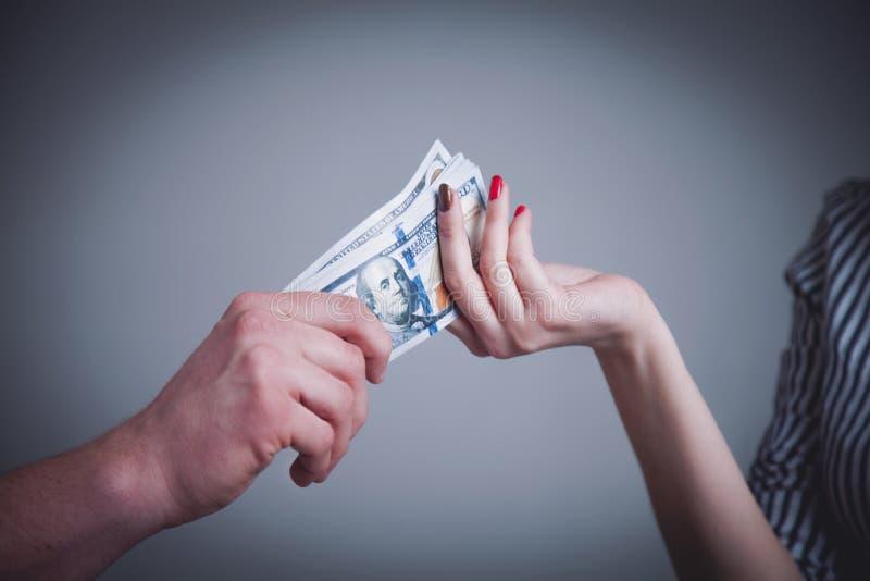 Rodzinny budżet, źródła swój formacja i kierunki, używamy Kobieta bierze pieniądze od jej męża (Cairina moschata) Humorystyczna f zdjęcie stock