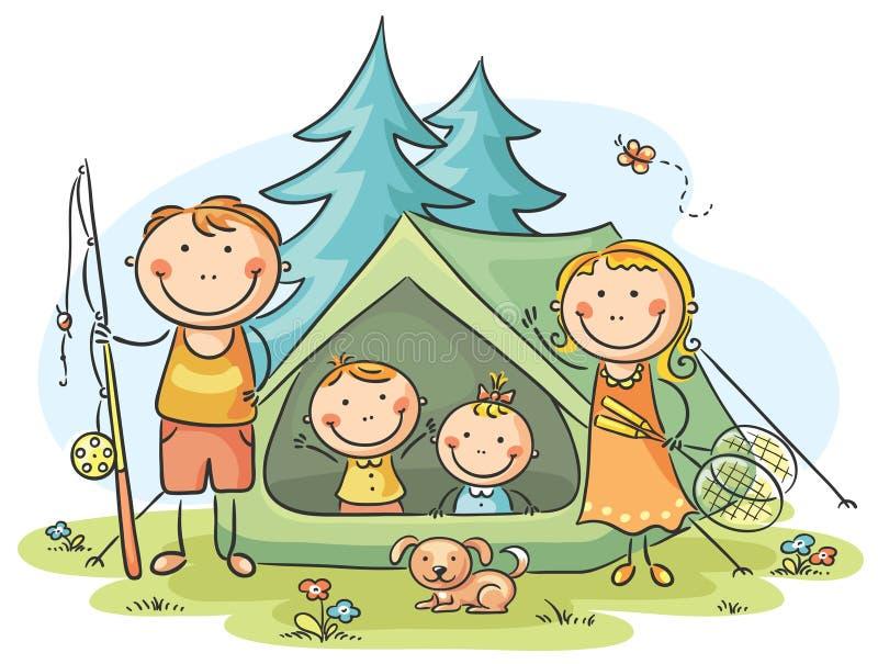 Rodzinny camping royalty ilustracja